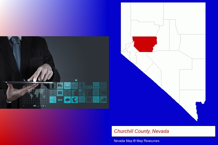information technology concepts; Churchill County, Nevada highlighted in red on a map