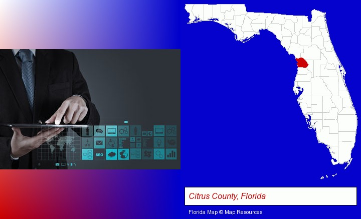 information technology concepts; Citrus County, Florida highlighted in red on a map