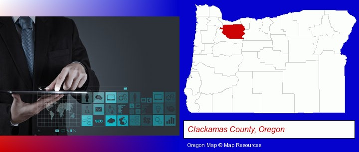 information technology concepts; Clackamas County, Oregon highlighted in red on a map
