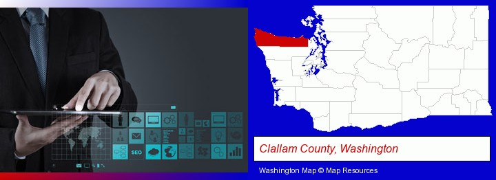 information technology concepts; Clallam County, Washington highlighted in red on a map