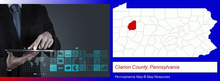 information technology concepts; Clarion County, Pennsylvania highlighted in red on a map