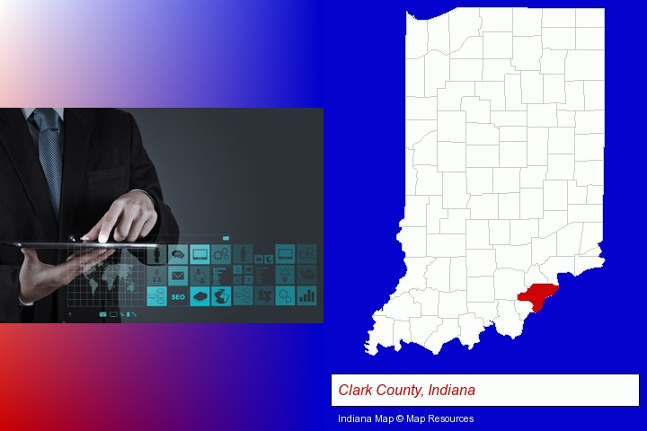 information technology concepts; Clark County, Indiana highlighted in red on a map