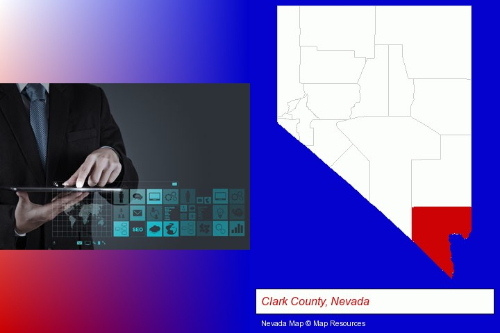 information technology concepts; Clark County, Nevada highlighted in red on a map
