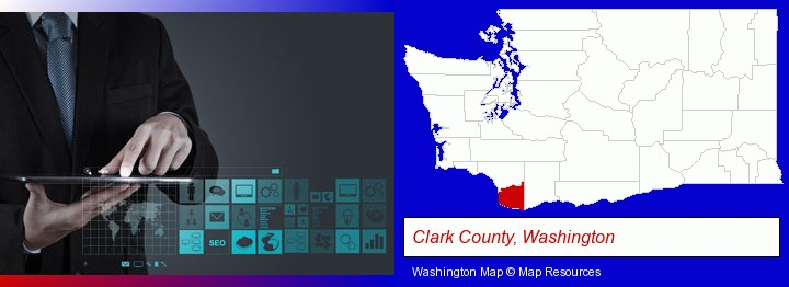 information technology concepts; Clark County, Washington highlighted in red on a map