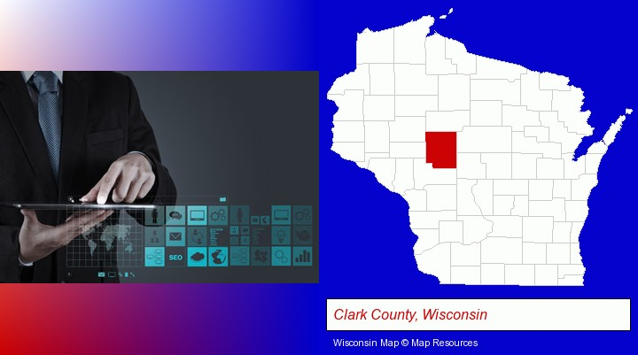 information technology concepts; Clark County, Wisconsin highlighted in red on a map