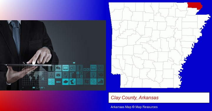 information technology concepts; Clay County, Arkansas highlighted in red on a map