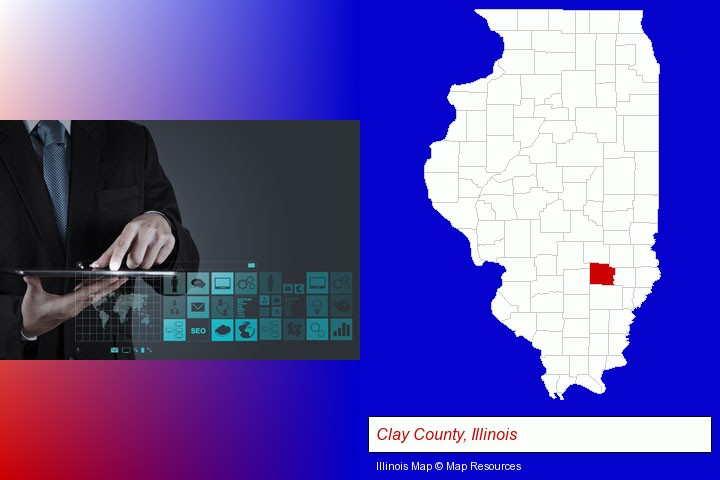 information technology concepts; Clay County, Illinois highlighted in red on a map