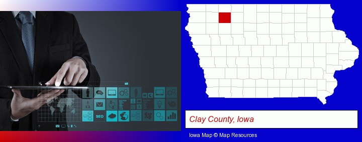 information technology concepts; Clay County, Iowa highlighted in red on a map