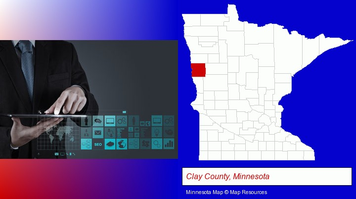 information technology concepts; Clay County, Minnesota highlighted in red on a map