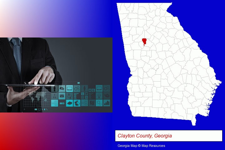 information technology concepts; Clayton County, Georgia highlighted in red on a map