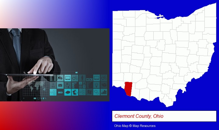 information technology concepts; Clermont County, Ohio highlighted in red on a map
