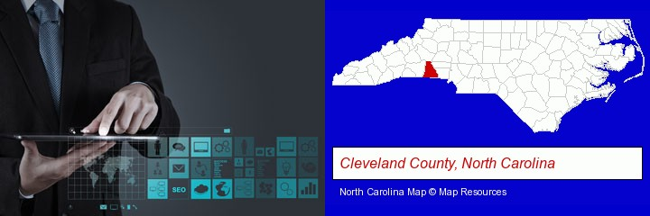 information technology concepts; Cleveland County, North Carolina highlighted in red on a map