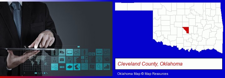 information technology concepts; Cleveland County, Oklahoma highlighted in red on a map