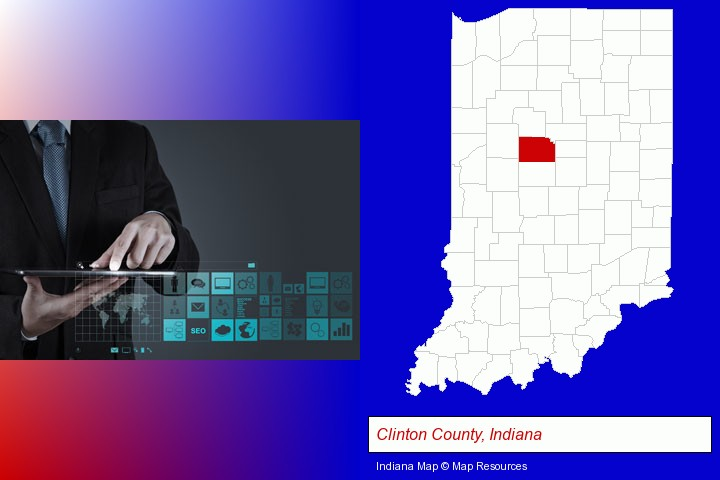 information technology concepts; Clinton County, Indiana highlighted in red on a map