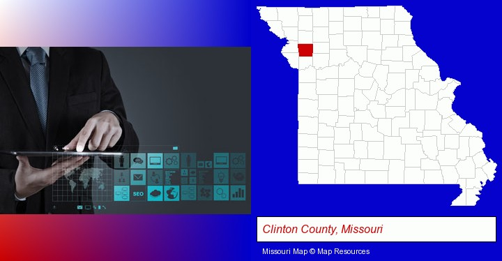 information technology concepts; Clinton County, Missouri highlighted in red on a map