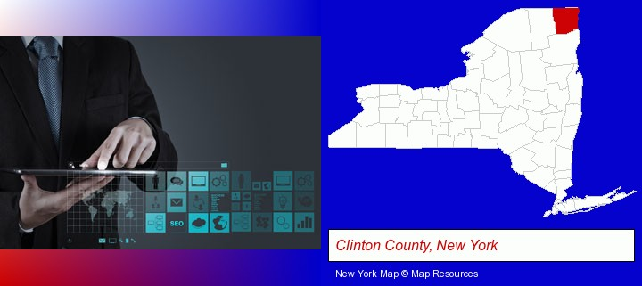 information technology concepts; Clinton County, New York highlighted in red on a map