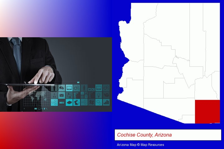 information technology concepts; Cochise County, Arizona highlighted in red on a map