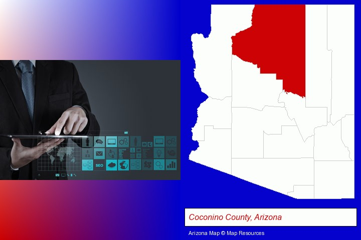 information technology concepts; Coconino County, Arizona highlighted in red on a map