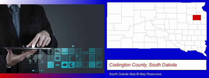 information technology concepts; Codington County, South Dakota highlighted in red on a map