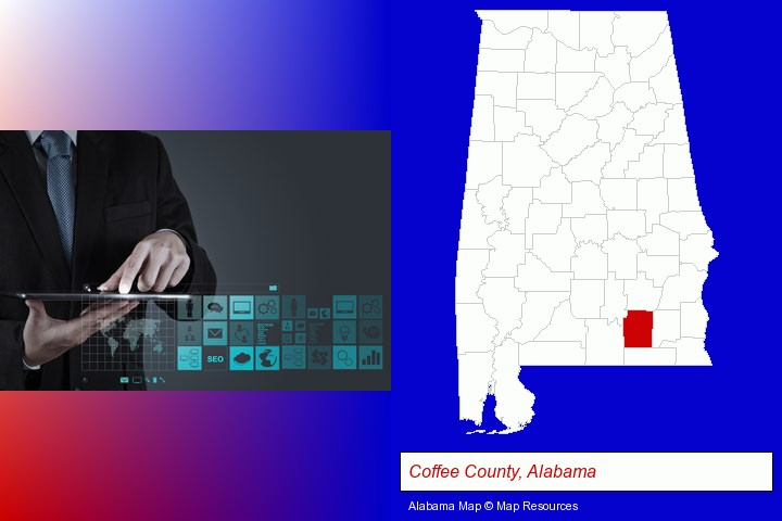 information technology concepts; Coffee County, Alabama highlighted in red on a map