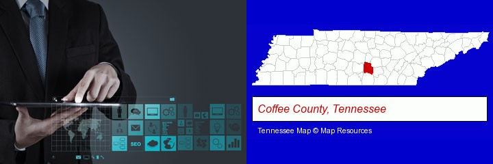 information technology concepts; Coffee County, Tennessee highlighted in red on a map