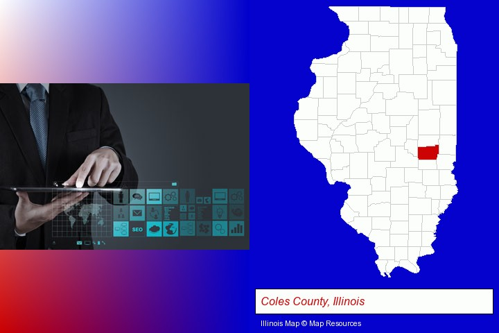 information technology concepts; Coles County, Illinois highlighted in red on a map