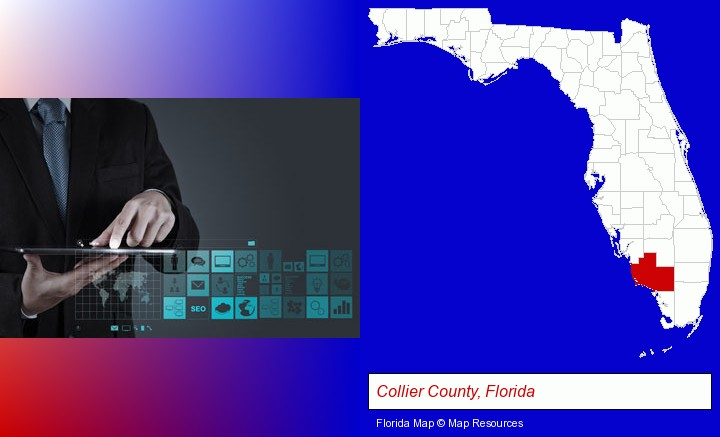 information technology concepts; Collier County, Florida highlighted in red on a map