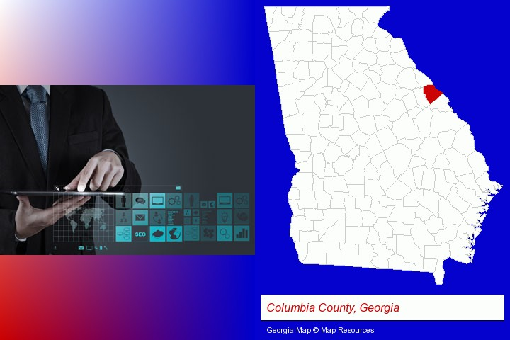 information technology concepts; Columbia County, Georgia highlighted in red on a map