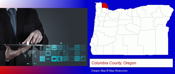information technology concepts; Columbia County, Oregon highlighted in red on a map