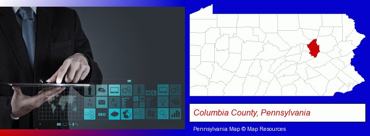 information technology concepts; Columbia County, Pennsylvania highlighted in red on a map