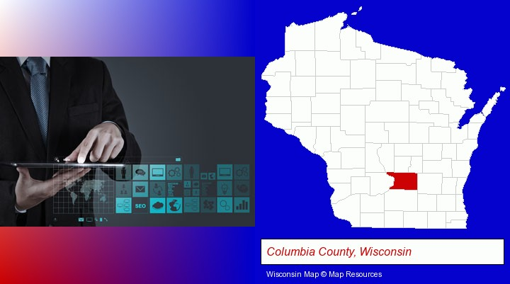 information technology concepts; Columbia County, Wisconsin highlighted in red on a map