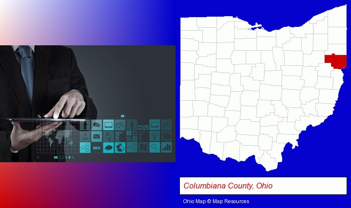 information technology concepts; Columbiana County, Ohio highlighted in red on a map
