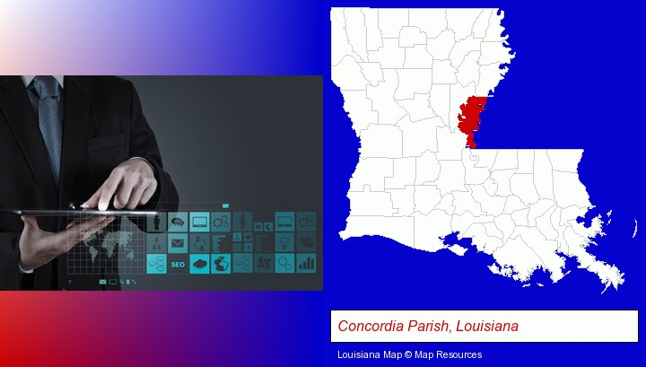 information technology concepts; Concordia Parish, Louisiana highlighted in red on a map