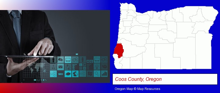 information technology concepts; Coos County, Oregon highlighted in red on a map