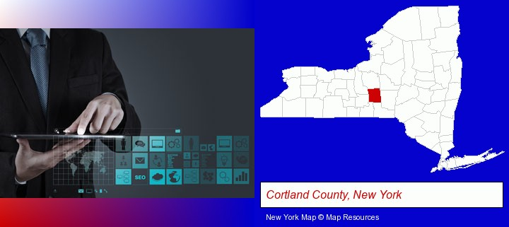 information technology concepts; Cortland County, New York highlighted in red on a map