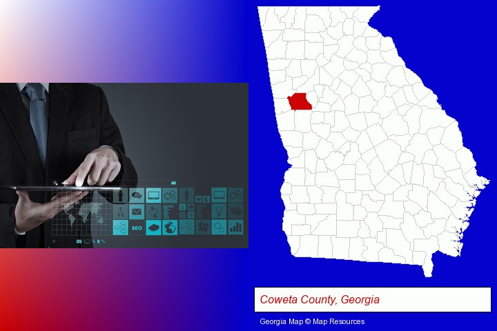 information technology concepts; Coweta County, Georgia highlighted in red on a map