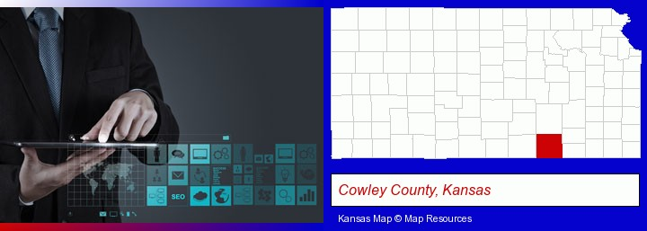 information technology concepts; Cowley County, Kansas highlighted in red on a map