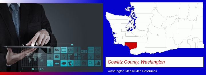 information technology concepts; Cowlitz County, Washington highlighted in red on a map
