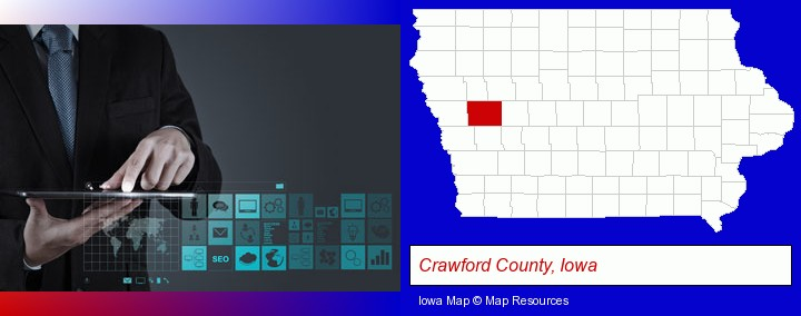 information technology concepts; Crawford County, Iowa highlighted in red on a map