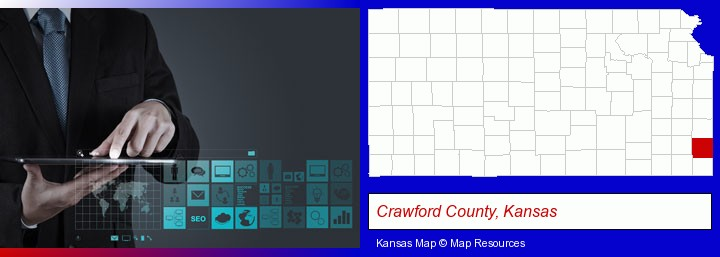 information technology concepts; Crawford County, Kansas highlighted in red on a map
