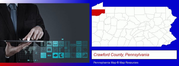 information technology concepts; Crawford County, Pennsylvania highlighted in red on a map