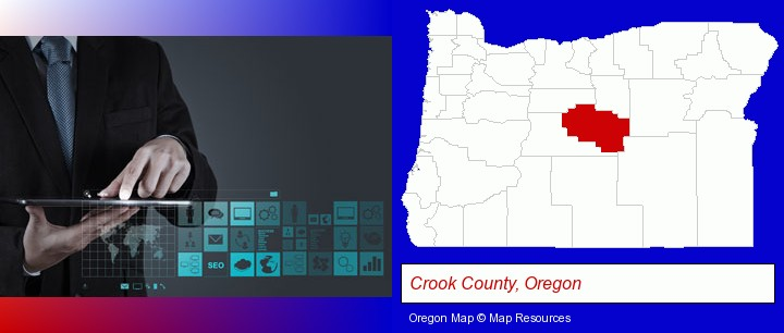 information technology concepts; Crook County, Oregon highlighted in red on a map