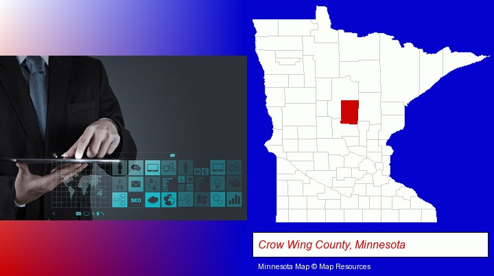 information technology concepts; Crow Wing County, Minnesota highlighted in red on a map
