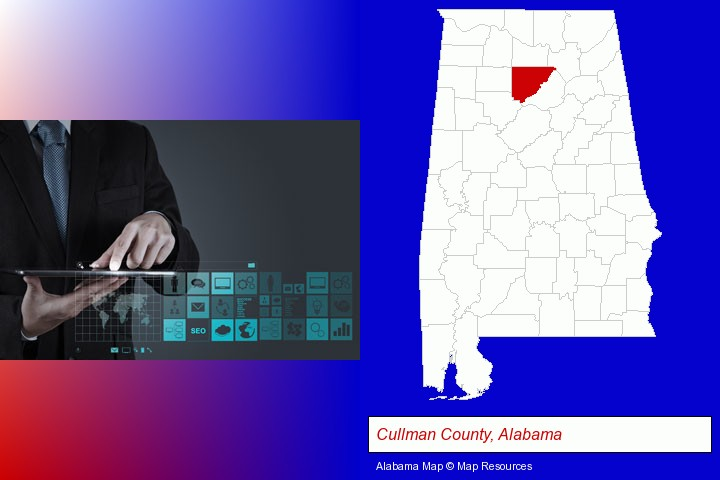 information technology concepts; Cullman County, Alabama highlighted in red on a map