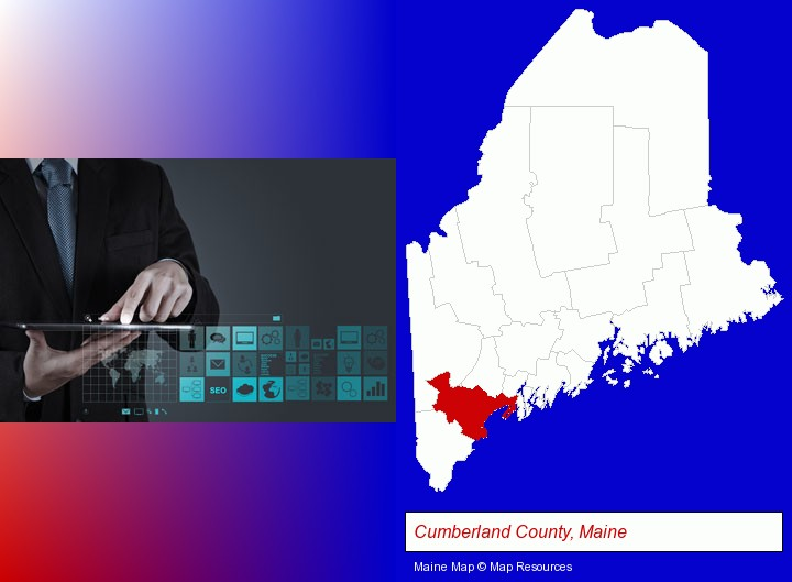 information technology concepts; Cumberland County, Maine highlighted in red on a map