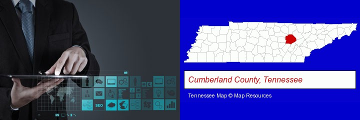 information technology concepts; Cumberland County, Tennessee highlighted in red on a map