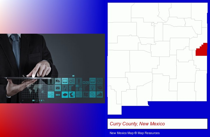 information technology concepts; Curry County, New Mexico highlighted in red on a map