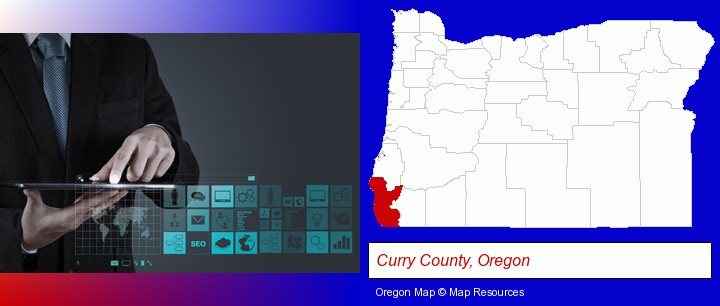 information technology concepts; Curry County, Oregon highlighted in red on a map