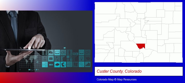 information technology concepts; Custer County, Colorado highlighted in red on a map