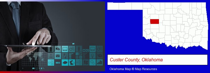information technology concepts; Custer County, Oklahoma highlighted in red on a map